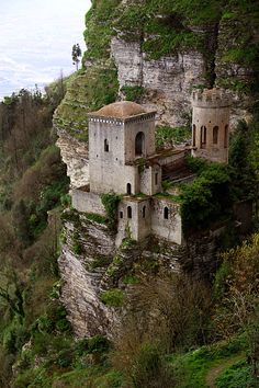 Pepoli Castle - Erice, Sicily. -- Built during Arabic times on the side of a cliff overlooking the Tyrrhenian Sea, the castle now acts as a hotel.