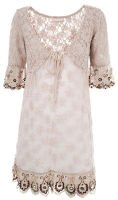 Odd Molly Crochet Embroidery Shift Dress in Pink (rose)