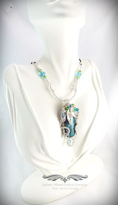 """A Midsummer Night's Dream -- Desire"". Adams Handcrafted Jewelry. Chrysocolla Malachite Wire-wrap Pendant Necklace in Fine Silver w/ Swarovski & Czech Crystals Handmade Fine Silver Leafs w/ Chain Cord. **Currently Available**"