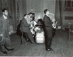 "Charlie Parker, Dizzy Gillespie, Harold ""Doc"" West and Slam Stewart, Town Hall 1945"