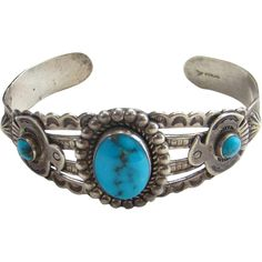 Bell Trading Co Navajo Turquoise Thunderbird Sterling Silver Cuff from americanbeautydolls on Ruby Lane