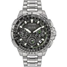 Citizen Eco-Drive Promaster Navihawk GPS Stainless Steel Bracelet... ($1,395) ❤ liked on Polyvore featuring men's fashion, men's jewelry, men's watches, silver, mens stainless steel watches, citizen eco drive mens watches and citizen men's watches