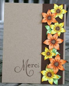 vibrant colored flowers stand out on brown strip