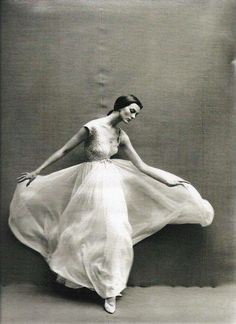 Carmen Dell'Orefice in a dress by Pierre Cardin, 1957, Richard Avedon for Vogue