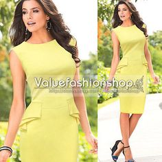 Womens Vintage Elegant Peplum Party Wear To Work Stretch Sheath Pencil Dress