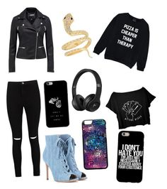 """""""TØP P!ATD music black outfit type thing 😂"""" by kateequine ❤ liked on Polyvore featuring Boohoo and Gianvito Rossi"""