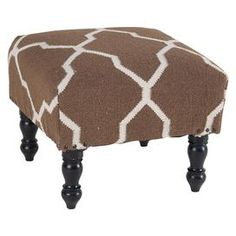 "Transform your den, three season porch, or master suite into a  plush bohemian retreat with this beautiful design, showcasing an exotic-inspired motif and artfully crafted detail.    Product: OttomanConstruction Material: Wood and 100% wool cover  Color: BrownDimensions: 14"" H x 18"" W x 18"" DShipping: This item ships small parcelExpected Arrival Date: Between 04/10/2013 and 04/18/2013Return Policy: This item is final sale and cannot be returned"