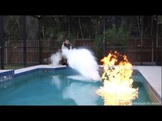 The Backyard Scientist performed an experiment where he attempted to extinguish a flaming swimming pool using liquid nitrogen and dry ice. He lit the pool Backyard Scientist, Liquid Nitrogen, Dry Ice, Female Dragon, My Pool, Weird Science, Floating In Water, Popular Mechanics, Chemistry