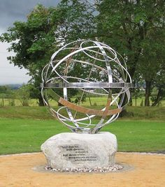 Memorial sundial to citizen cyclist Pinky Williams at a roundabout in Lanarkshire, Scotland
