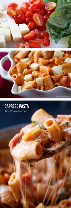 Pasta Creamy caprese pasta on .This recipe is so delicious and will soon become a new family favorite!Creamy caprese pasta on .This recipe is so delicious and will soon become a new family favorite! I Love Food, Good Food, Yummy Food, Tasty, Caprese Pasta, Caprese Salad, Caprese Recipe, Great Recipes, Favorite Recipes