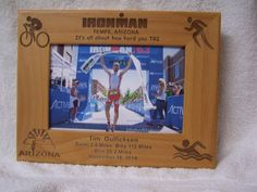 ironman triathlon gift solid wood personalized picture frame
