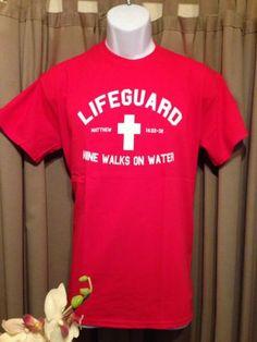 Christian T-Shirt Matthew 14:22-32 Lifegaurd Mine Walks On Water Size S,M,L,XL in Clothing, Shoes & Accessories | eBay