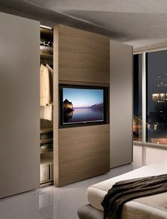54 Astonishing Wardrobe Design That Can Try In Your Home – Bedroom Inspırations Modern Master Bedroom, Tv In Bedroom, Master Bedroom Design, Closet Bedroom, Bedroom Decor, Wardrobe Closet, Contemporary Bedroom, Bedroom Ideas, Bedroom Lighting