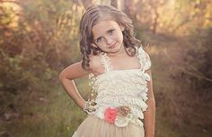 lace Flower Girl Dress Champagne Flower girl by PoshPeanutKids, $50.00