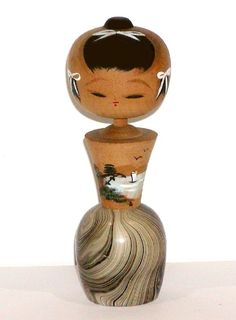 JAPANESE ASIAN VINTAGE WOOD KOKESHI DOLL w/ OCEAN SCENE & SWIRLED PAINT DESIGN ! #Dolls