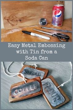 Easy Embossing Soda Can Labels is part of Aluminum can crafts - Soda can crafts - Aluminum crafts Tin Can Art, Soda Can Art, Tin Art, Tin Foil Art, Aluminum Can Crafts, Metal Crafts, Recycled Crafts, Pop Can Crafts, Crafts To Make