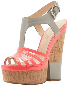 Enzo Angiolini Women's Gigio Wedge Sandal,Grey/Dark Pink,5 M US