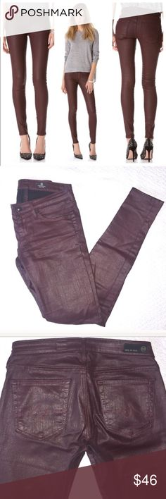 """AG Adriano Goldschmeid Waxed Cotton Jeans The Absolute Legging- a waxed cotton that has a leather look! This is the """"extreme skinny"""" in a deep maroon color.▪️74% cotton 25% polyurethane 2% elastane.▪️size 26R ▪️14"""" flat across the waist ▪️8"""" rise ▪️30"""" inseam In great condition, worn twice!! In my opinion these run on the Small side. AG Adriano Goldschmied Jeans Skinny"""