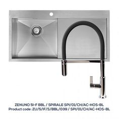 ZENUNO 51-F BBR Single Bowl Sink with Drainer with SPIRALE Chrome Tap with Black Hose