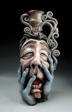 Misery Face Jug folk art sculpture raku pottery by Mitchell Grafton