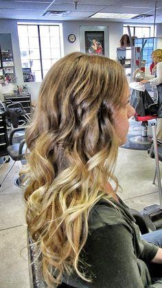 Honey Blonde to Platinum Blonde ombre color