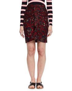 ETOILE ISABEL MARANT Jayda Floral Wrap Skirt, Burgundy/Gray. #etoileisabelmarant #cloth #