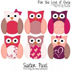 diy owl art | Valentine's Day Owl Clip Art for Card Making, DIY Valentines and More