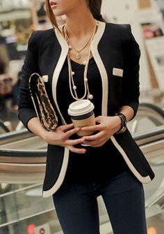 So Cute! Love the Leopard Bag! Black Patchwork Pockets Casual Slim Blazer #Leopard #Bag #Black #Blazer #Fashion