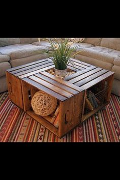 Coffee table made of wooden crates! Brilliant!