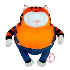 Custom plush toy cartoon hero cat, handmade by Art-berloga Emotional Messages, Bunny And Bear, Handmade Toys, Dinosaur Stuffed Animal, Plush, Hero, Cartoon, Cats, Animals