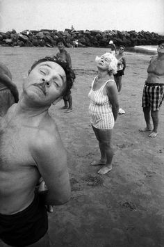 Bruce Gilden Close-up of man exercising with a group of people on the beach Coney Island New York City Bruce Gilden/Magnum Photos. Courtesy of Magnum Photos. Online Photography Course, People Photography, Vintage Photography, Film Photography, Street Photography, Urban Photography, Color Photography, Coney Island, Mermaid Parade