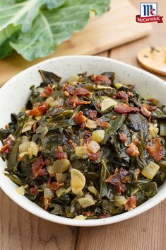 A time-honored tradition in southern kitchens, these simple collard greens make for an easy Thanksgiving side dish idea. McCormick Red Pepper gives this veggie recipe an ever-so-subtle heat, complementing the smoky, savory taste of crumbled bacon. Heart Healthy Recipes, Vegetable Recipes, Vegetarian Recipes, Cooking Recipes, Vegetarian Barbecue, Barbecue Recipes, Oven Recipes, Vegetarian Cooking, Easy Cooking