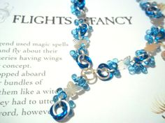 Bright Blue Beaded Butterfly Chainmaille Necklace With Matching Earrings