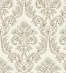 Large gray damask wallpaper from Windereme by York Wallcoverings.