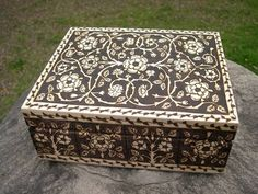 woodburning patterned after Elizabethan embroidered bible. by lmcneil on craftster.org