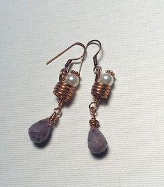 Purple Flower Jade on Copper Coil Earrings  by Justatishdesigns