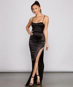 Windsor Dresses Prom, Prom Dresses For Sale, Black Prom Dresses, Event Dresses, Satin Dresses, Gowns, Wedding Dresses, Form Fitting Prom Dresses, Black Satin Dress
