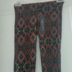 Retro art deco leggings metallic specs XS They stretch good to size small which is my usual size. Never worn with tags. H.I.P. Pants Leggings