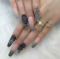 Ombre Grey And Pink With Jewels Nails Art