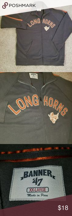 University of Texas UT longhorns Banner '47 jacket For sale I have a really cool UT longhorns jacket made by Banner '47. If you know their products you know they're very nice clothing.  Size says XXL but fits more like a comfortable XL  The item is in perfect condition with no stains or tears at all (stains on picture have been removed after a good wash) The only little problem is the zipper has a trick to zip it up, takes me a little while to get it, but it works. Maybe I'm just dumb idk…