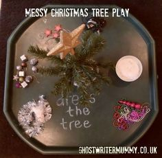 Messy Christmas tree play Christmas tree play from Ghost Writer Mummy ( Preschool Christmas, Christmas Activities, Winter Activities, Christmas Themes, Winter Christmas, Christmas Christmas, Eyfs Activities, Nursery Activities, Outdoor Activities