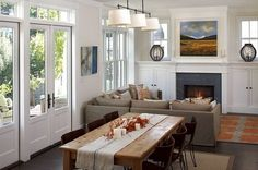 Wonderful Small Home Design with Cozy Atmosphere and Stylish Look: Space Layout Living Dinner With Fireplace And Built In Cabinets ~ anahitafurniture.com House Design Inspiration