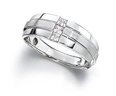 Men's 10k White Gold Princess-Cut Diamond Mixed Finish Ring (0.33 cttw, H-I Color, I1-I2 Clarity), Size 11  http://electmejewellery.com/jewelry/mens-jewelry/mens-rings/men39s-10k-white-gold-princesscut-diamond-mixed-finish-ring-033-cttw-hi-color-i1i2-clarity-size-11-com/