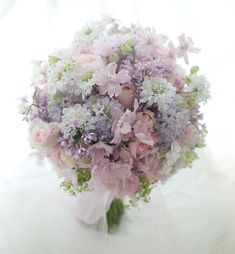 Sweet & Romantic Bridal Bouquet Featuring: Pastel Pink & Green Snow Bell, White Scabiosa, Pink Spray Rose, Pastel Blue & Lavender Lilac, Hand Tied With Chiffon Ribbons^^^^ Romantic Wedding Colors, Romantic Flowers, Bridal Flowers, Floral Wedding, Beautiful Flowers, Bride Bouquets, Bridesmaid Bouquet, Floral Bouquets, Pastel Bouquet