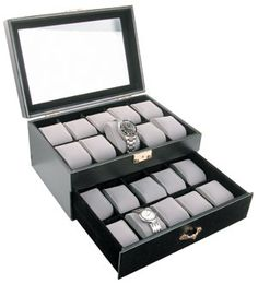 Personalized 20 piece Black Leather Watch Box with See Through Glass Top. Holds Large Watches on Etsy, $59.95