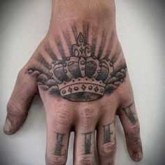 Best representation descriptions: King Crown Tattoo On Hand Related searches: Forearm Tattoos for Men,Tattoo Designs for Men Arms,Sleeve Ta. Crown Hand Tattoo, Back Of Hand Tattoos, King Crown Tattoo, Crown Tattoo Design, King Tattoos, Lower Back Tattoos, Small Tattoos, Mens Hand Tattoos, Crown Tattoos For Women