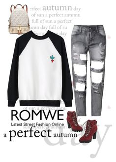 """""""Romwe Sweatshirt"""" by ella178 ❤ liked on Polyvore featuring Michael Kors, Nine West, women's clothing, women's fashion, women, female, woman, misses and juniors"""