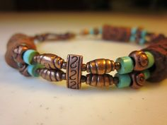 Copper and turquoise bracelet
