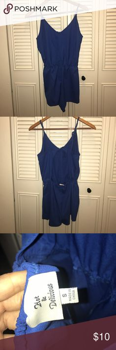 Hot & Delicious Sz Small Blue back cutout romper Hot & Delicious Sz Small Blue back cutout romper Forever 21 Pants Jumpsuits & Rompers