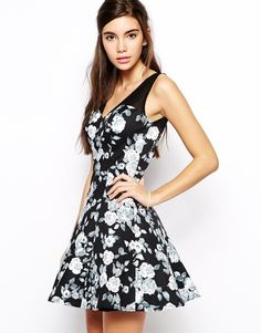 Image 1 ofChi Chi London Fit and Flare Prom Dress in Floral Print